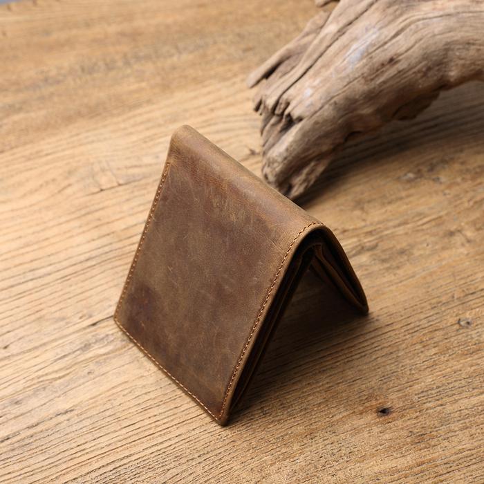SoLoMon| 梧桐木片 多卡隔層瘋馬牛革橫式短夾 (深咖啡色)