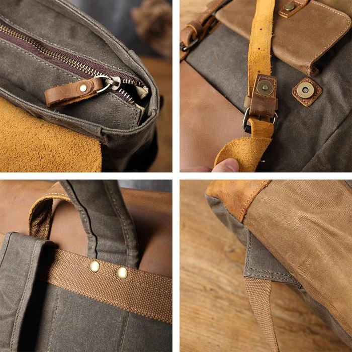 SoLoMon|牛皮革機能帆布後背包(4色可選)