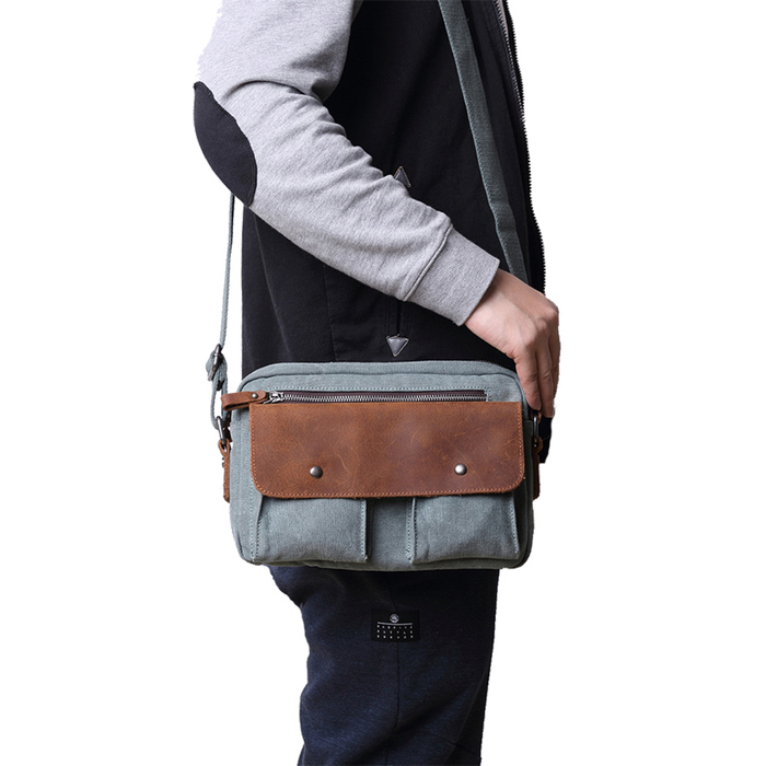 SoLoMon 牛皮革機能帆布後背包(4色可選)