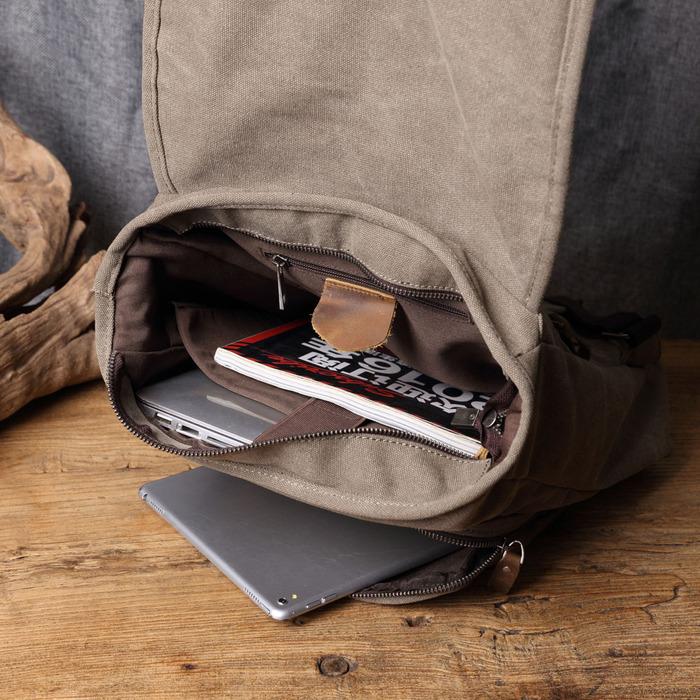 SoLoMon|牛皮革機能帆布掀蓋後背包(4色可選)