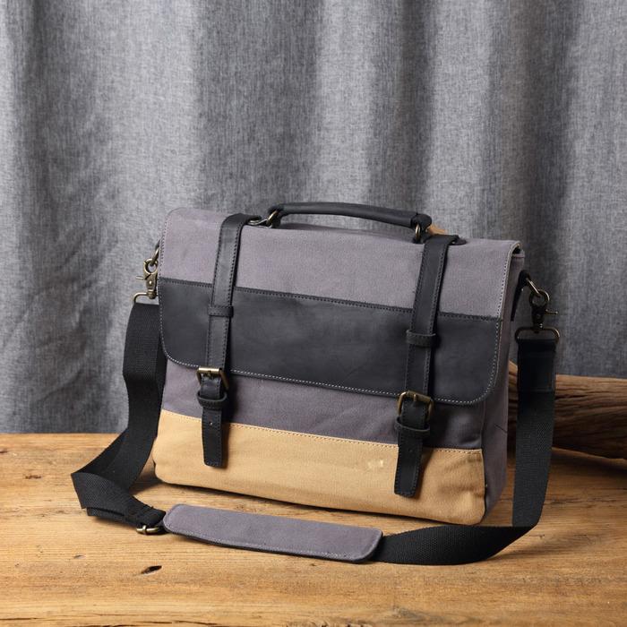 SoLoMon|皮革機能帆布側背包(4色可選)