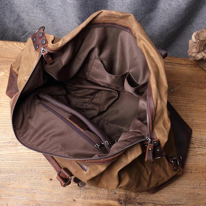 SoLoMon|皮革機能帆布旅行手提包 附肩背帶(4色可選)