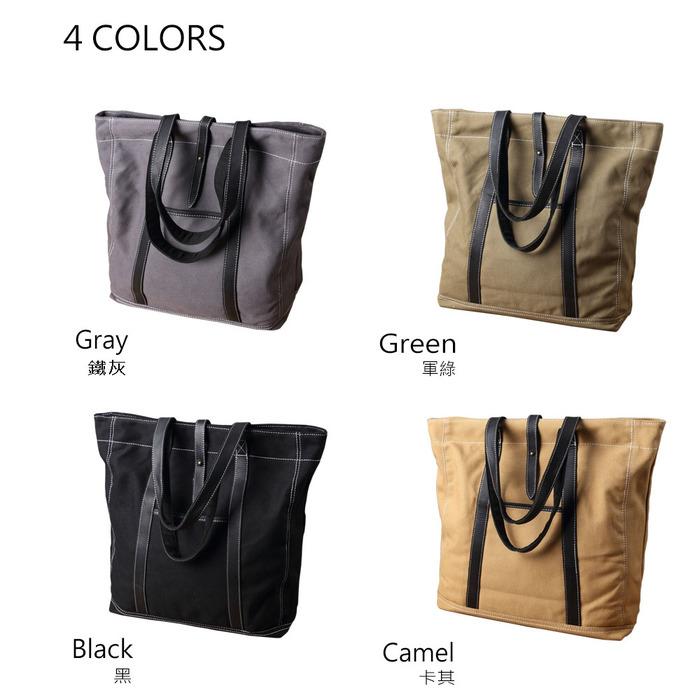 SoLoMon|牛皮革機能帆布肩背包(4色可選)