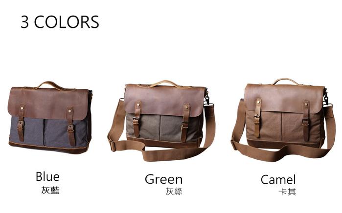 SoLoMon|皮革機能帆布公事包 附肩背帶(4色可選)