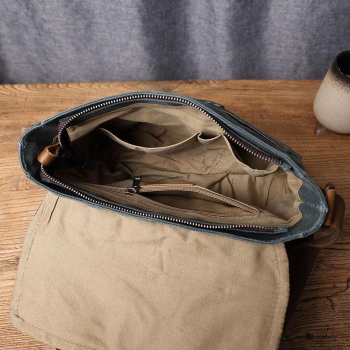 SoLoMon|皮革機能帆布休閒側背包 斜背包(4色可選)