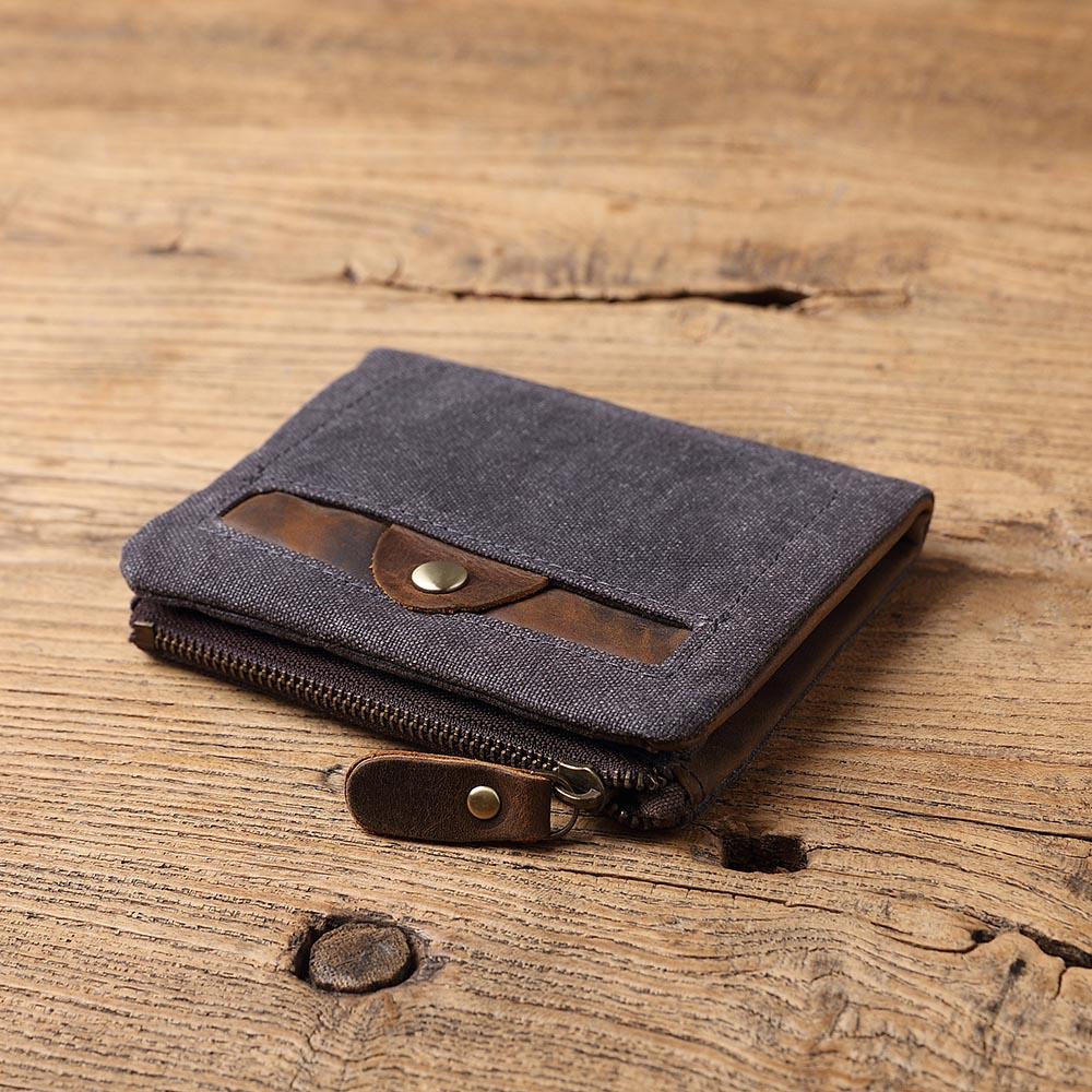 SoLoMon|經典英式復古 牛皮革+機能帆布短夾 拉鍊零錢包(4色可選)