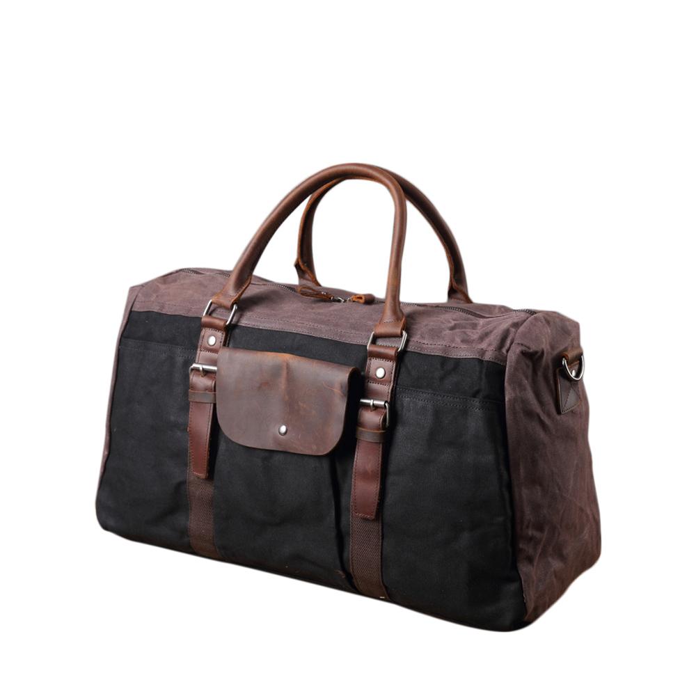 SoLoMon|牛皮革機能帆布旅行袋 (4色可選)