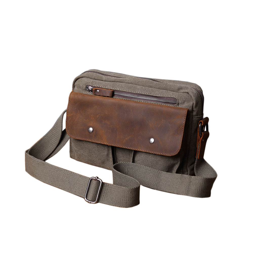 SoLoMon 牛皮革機能帆布側背包(4色可選)