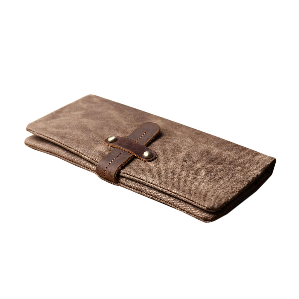 SoLoMon|牛皮革機能帆布抽帶功能長夾(5色可選)