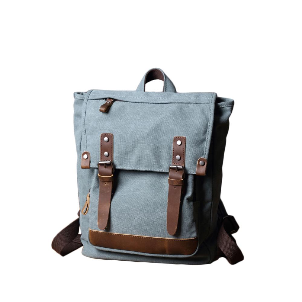 SoLoMon|牛皮革機能帆布掀蓋後背包(5色可選)