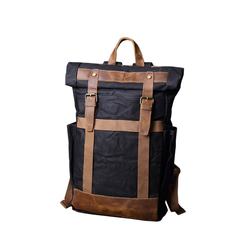 SoLoMon|皮革機能帆布旅行大容量後背包(4色可選)