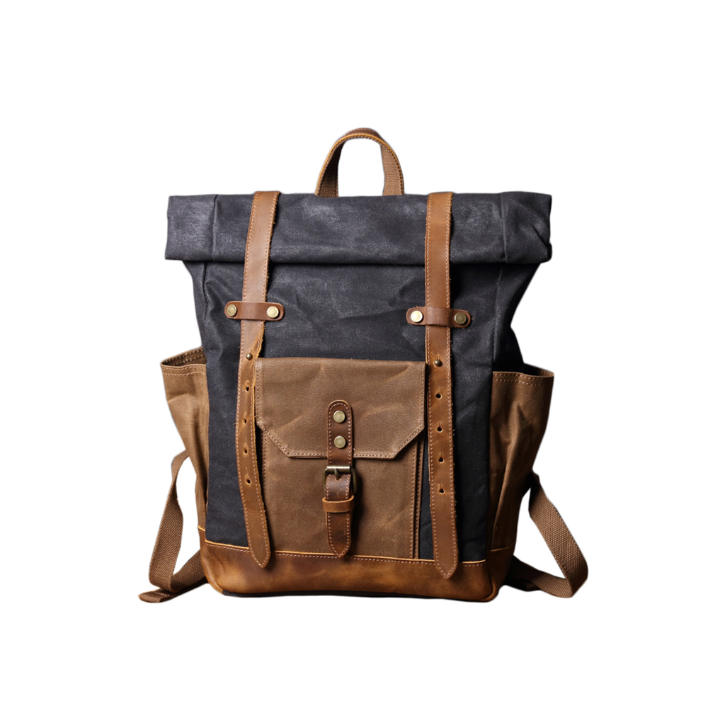 SoLoMon|皮革機能帆布軍事風格旅行後背包(5色可選)