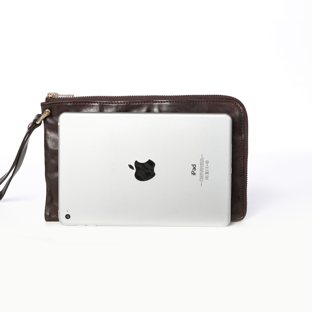 SoLoMon|真皮摺皺風格手拿包 / 可放pad mini 4