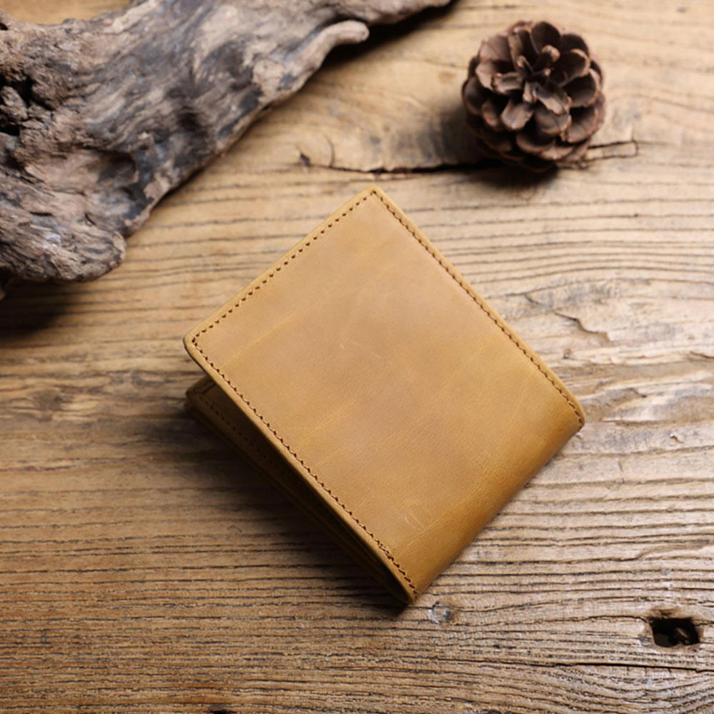 SoLoMon|咖哩塊經典淺棕牛革 真皮短夾