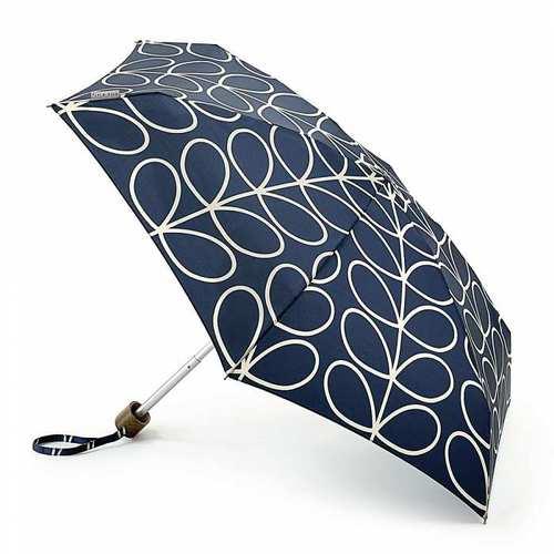 Fulton富爾頓|Orla Kiely聯名迷你口袋傘-簡約藍葉
