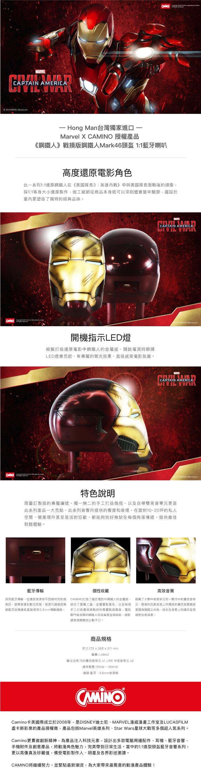 CAMINO | 戰損版鋼鐵人Mark46頭盔 1:1藍牙音響