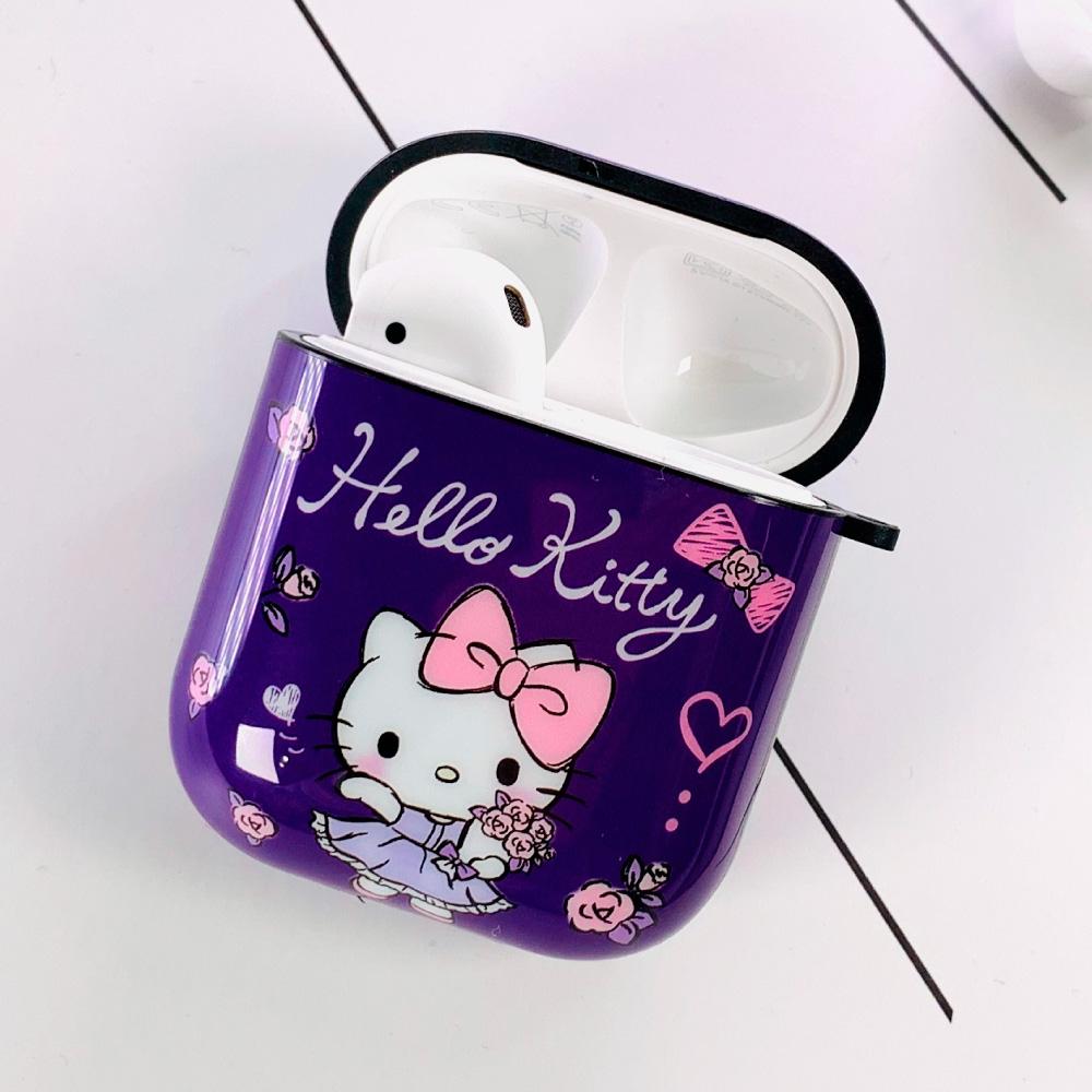 HongMan   三麗鷗系列 AirPods防塵耐磨保護套 凱蒂貓 紫鬱玫瑰