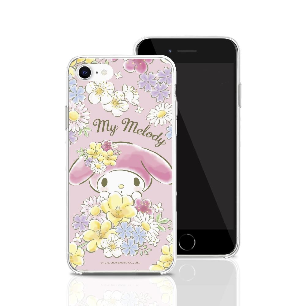 HongMan|三麗鷗系列 iPhone SE 4.7吋 手機殼套裝組 美樂蒂 花兒朵朵