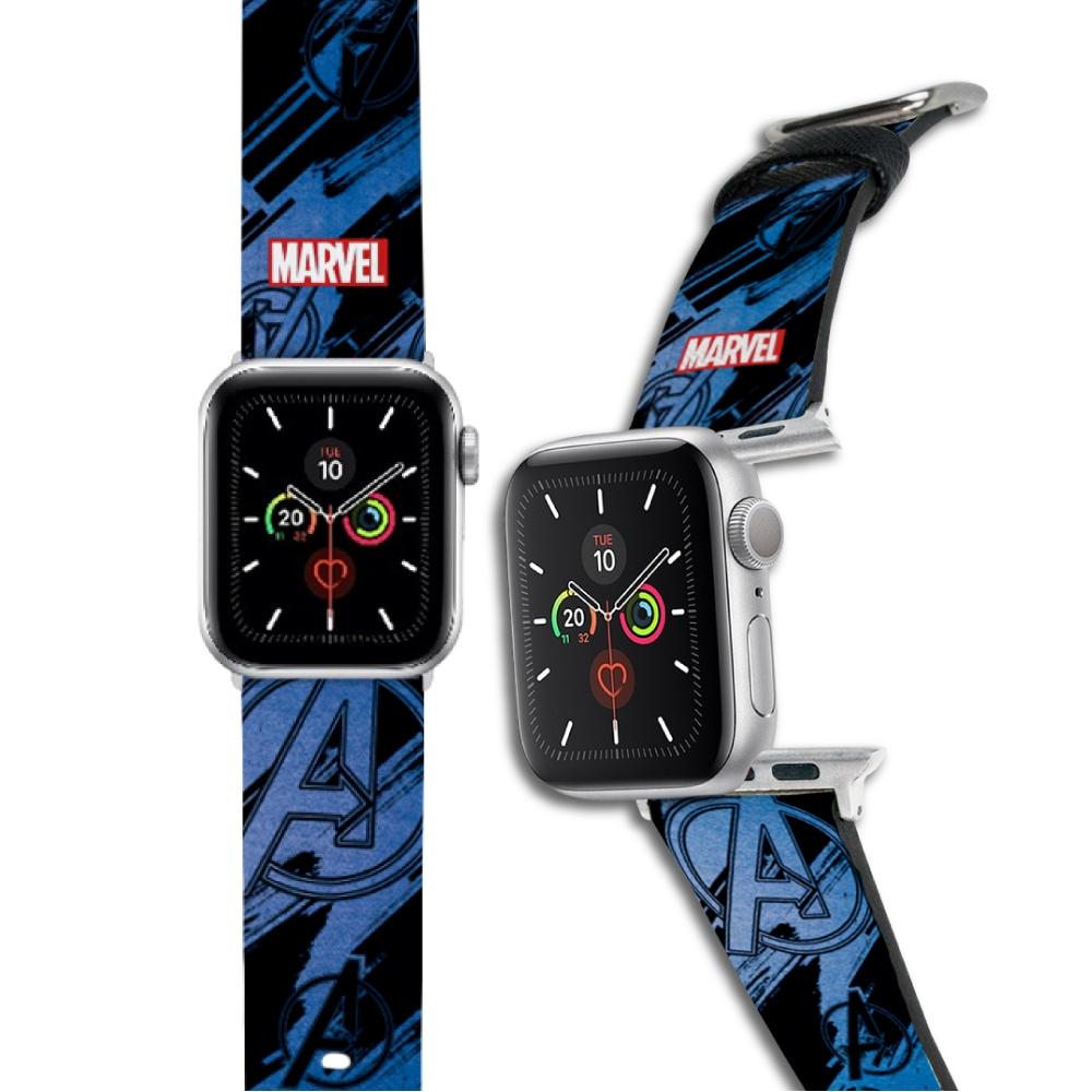 HongMan 漫威系列 Apple Watch 皮革錶帶 藍色Avengers Logo
