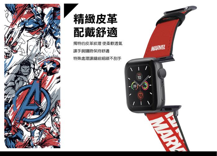 HongMan|漫威系列 Apple Watch 皮革錶帶 紅色Marvel Logo