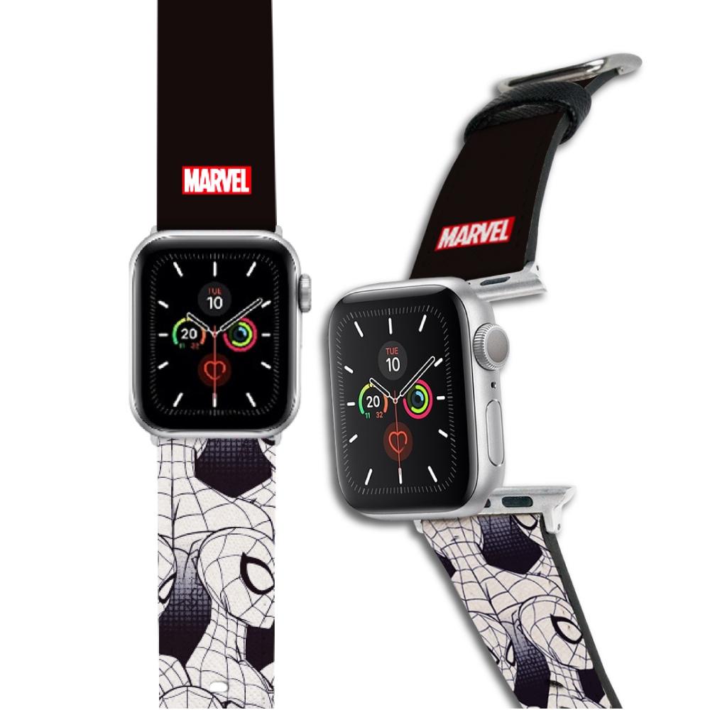 HongMan|漫威系列 Apple Watch 皮革錶帶 黑白蜘蛛人