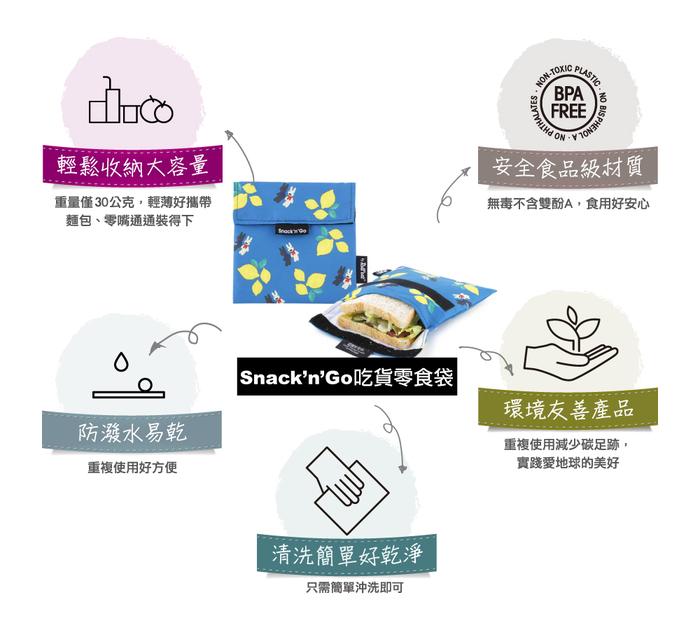 (複製)Roll′eat   西班牙食物袋 吃貨零食袋(M)-拼布(拼布綠)