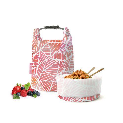 Roll′eat | 西班牙食物袋 桶裝食物袋-印花(粉紅葉子)
