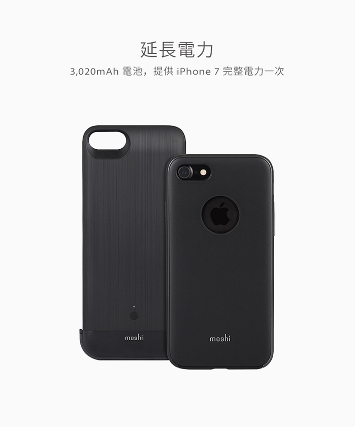 Moshi|IonSuit for iPhone 8/7 可拆式電池殼(黑)
