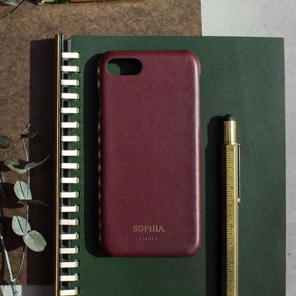 ADOLE|iPhone 7/8 4.7吋真皮防潑水手機殼-酒紅
