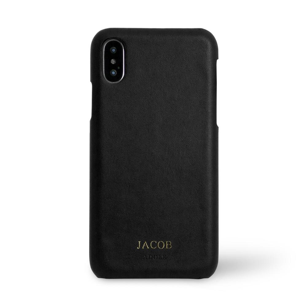 ADOLE|iPhone X 5.8吋真皮防潑水手機殼-黑