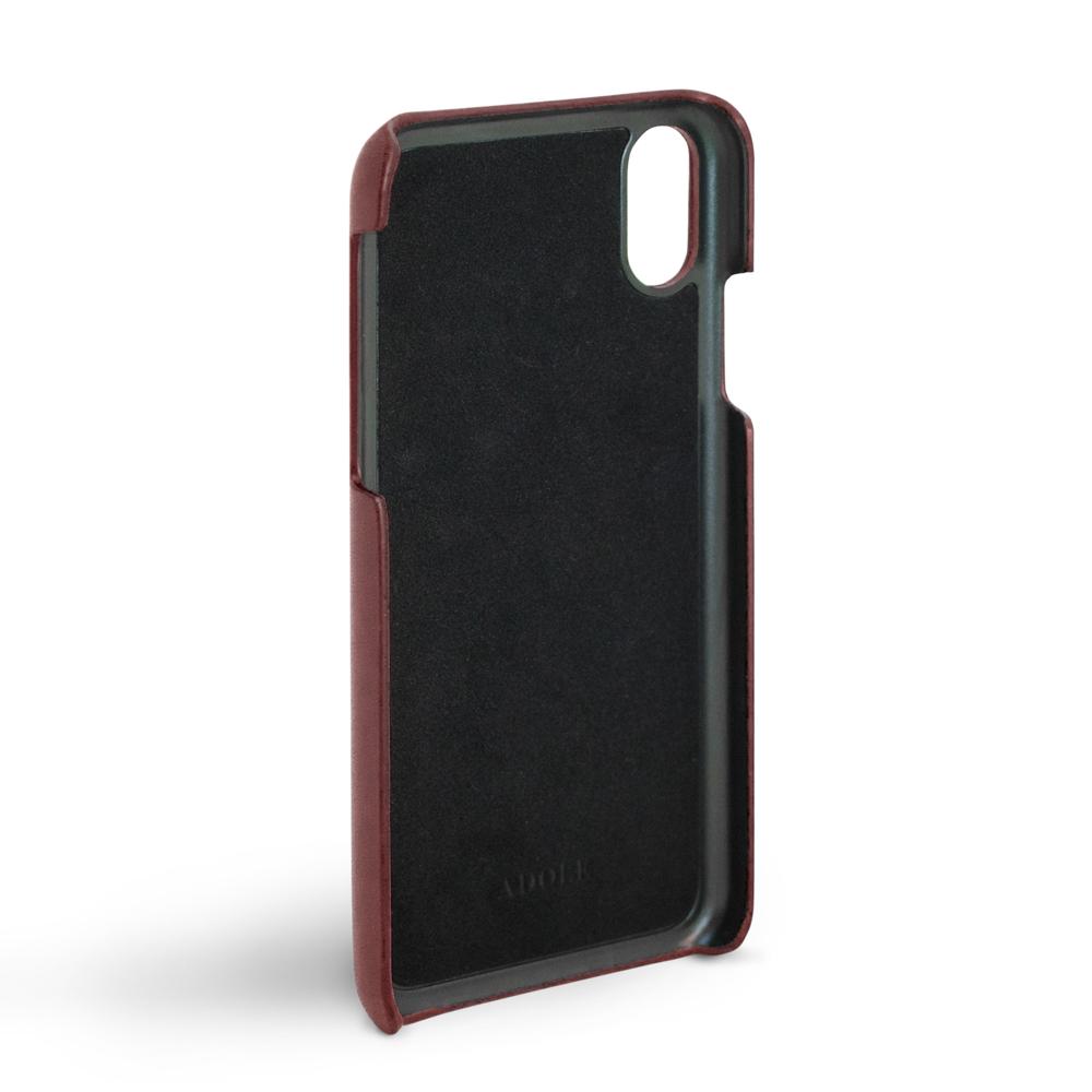 ADOLE|iPhone X 5.8吋真皮防潑水手機殼-酒紅