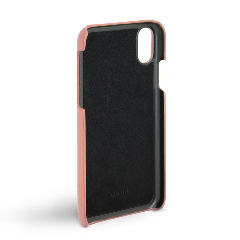 ADOLE|iPhone X 5.8吋真皮防潑水手機殼-煙燻粉紅
