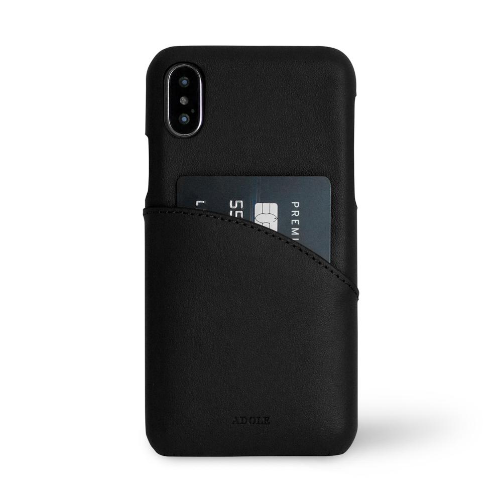 ADOLE|iPhone X 5.8 吋真皮防潑水手機殼卡夾款-黑
