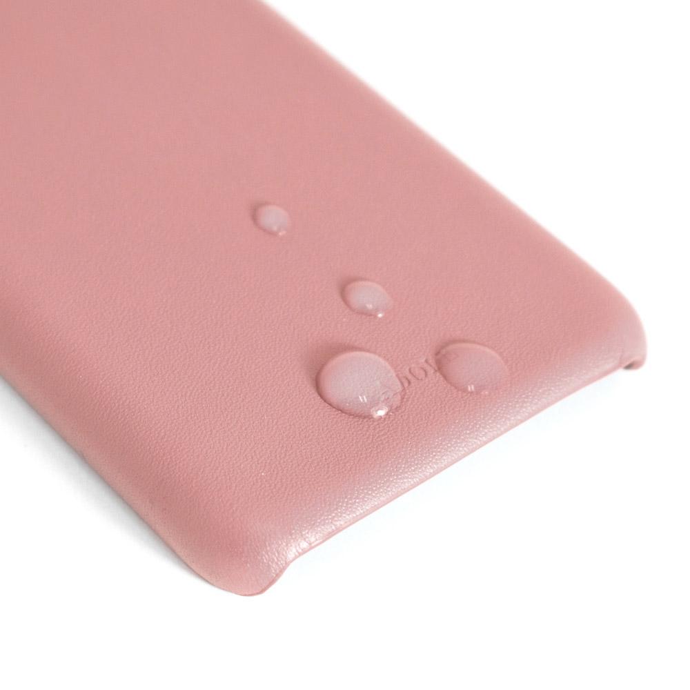 ADOLE|iPhone X 5.8 吋真皮防潑水手機殼卡夾款-煙燻粉紅