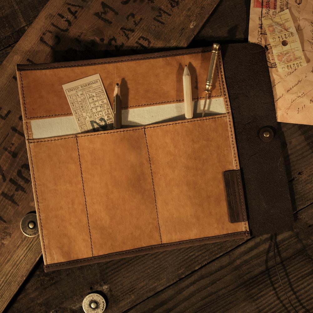 ADOLE|蠟紋布-工業捲式筆袋