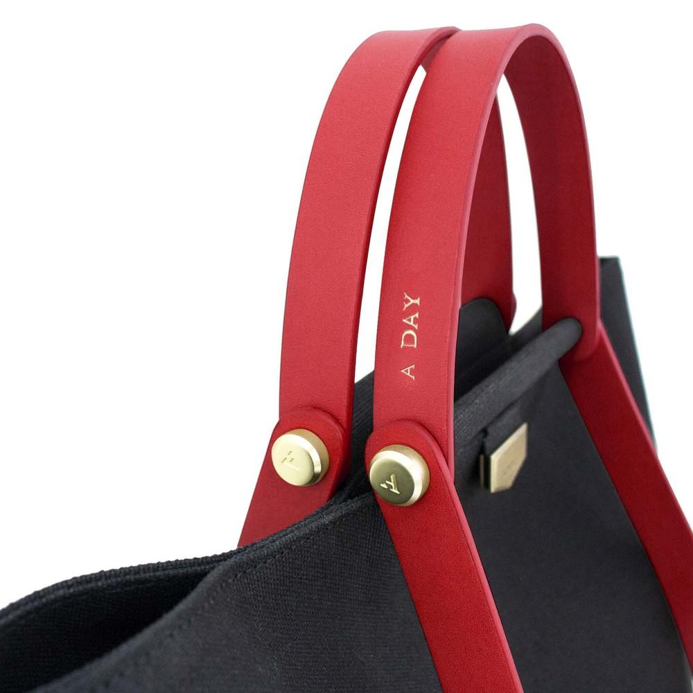 ADOLE|ADay皮革組合帆布包/黑帆布+紅堤把