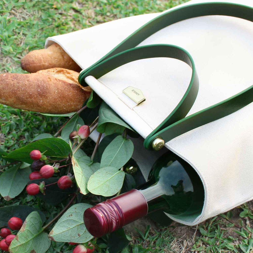 ADOLE|ADay皮革組合帆布包/米帆布+綠堤把