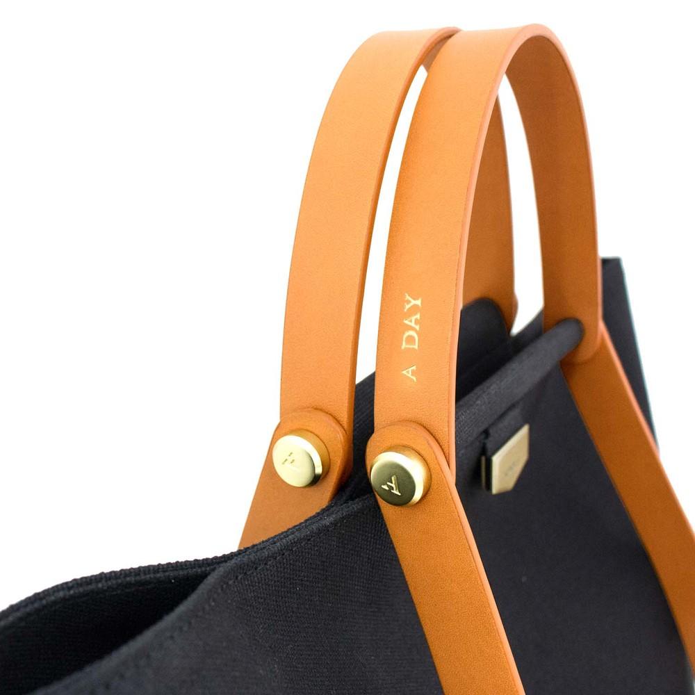 ADOLE|ADay皮革組合帆布包/黑帆布+棕堤把