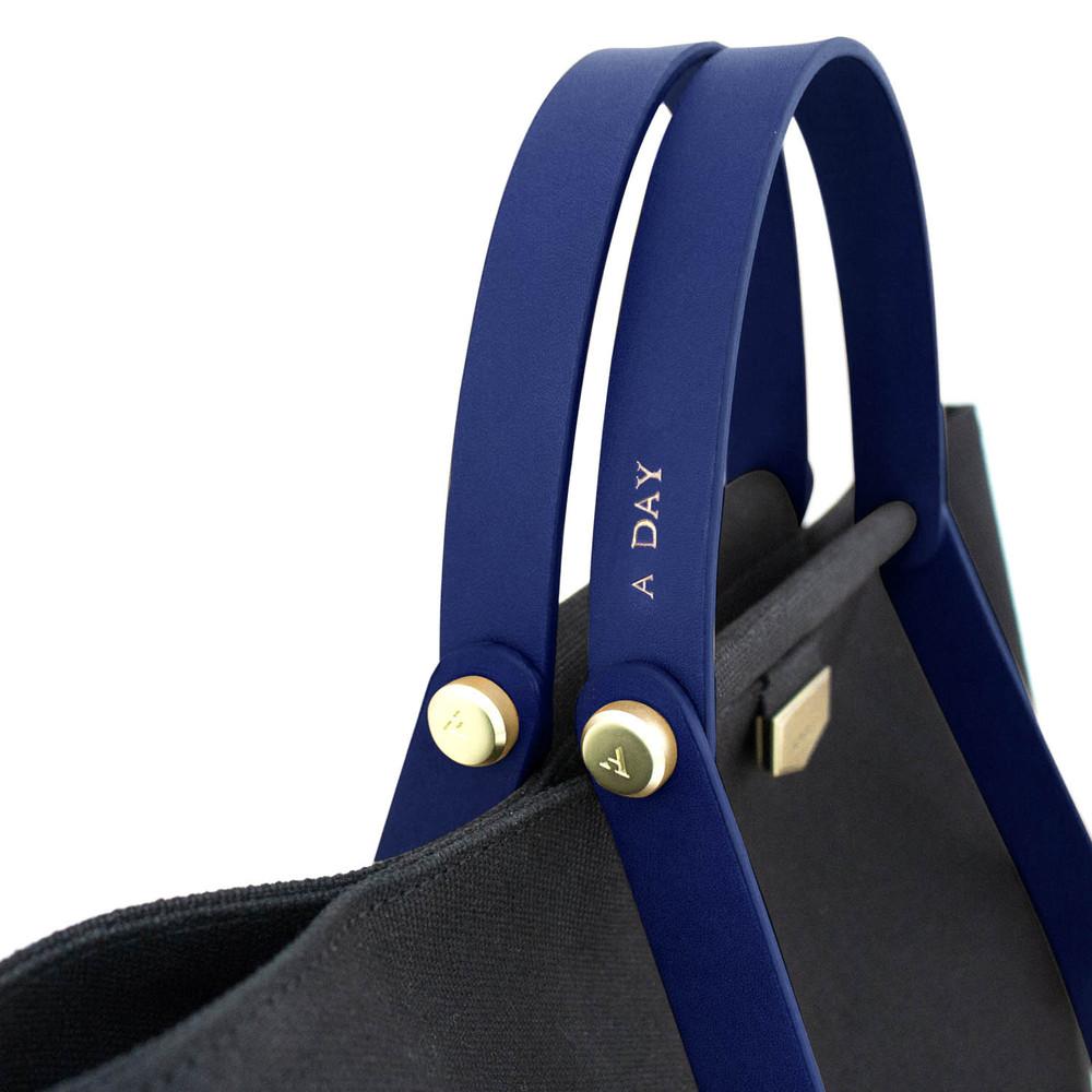 ADOLE|ADay皮革組合帆布包/黑帆布+藍堤把