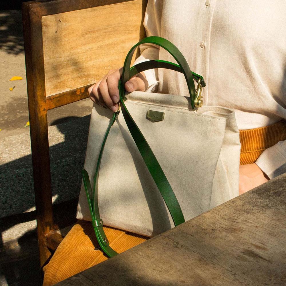 ADOLE|ADay皮革斜背包/米帆布包+綠提把