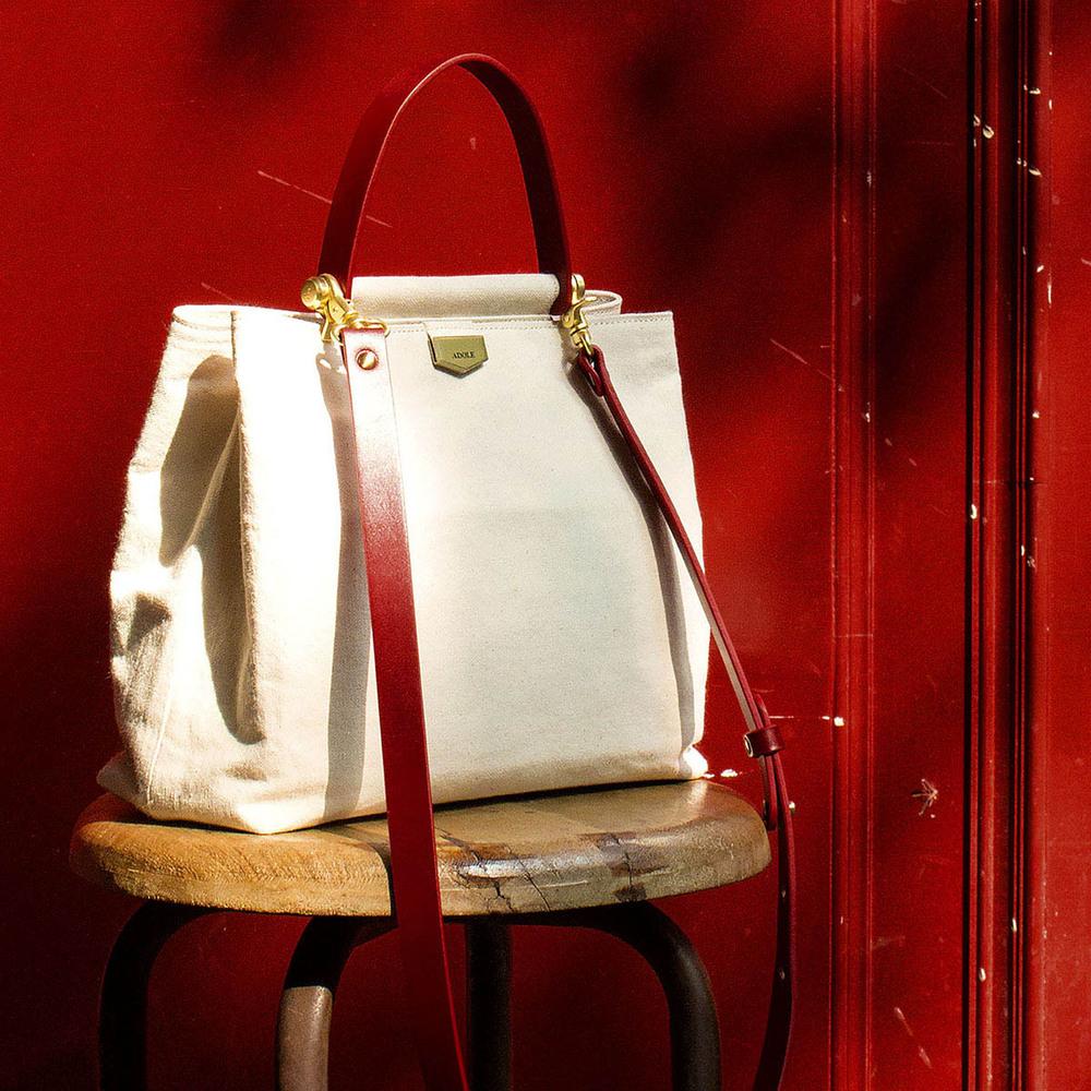 ADOLE|ADay皮革斜背包/米帆布包+紅提把