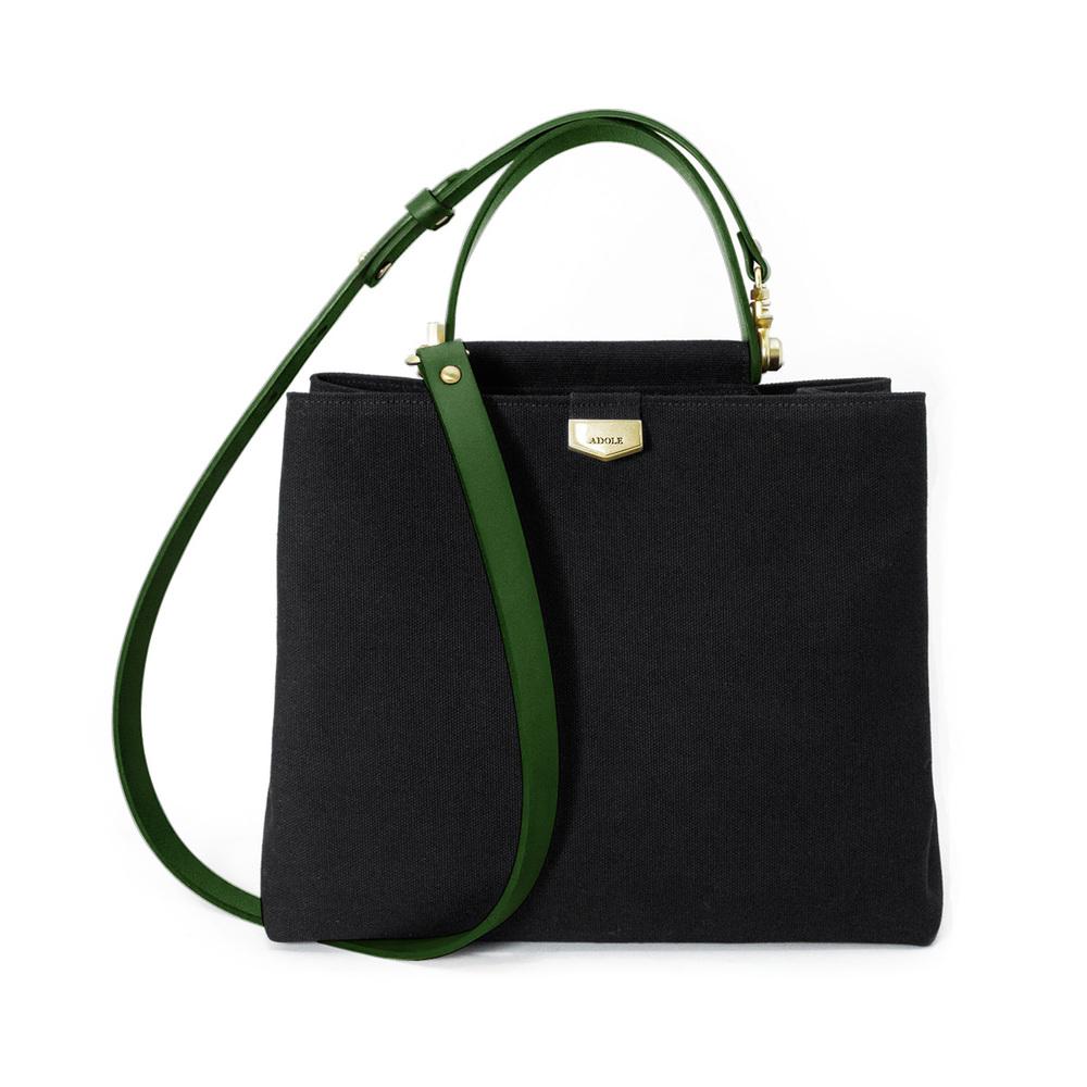 ADOLE|ADay皮革斜背包/黑帆布包+綠提把