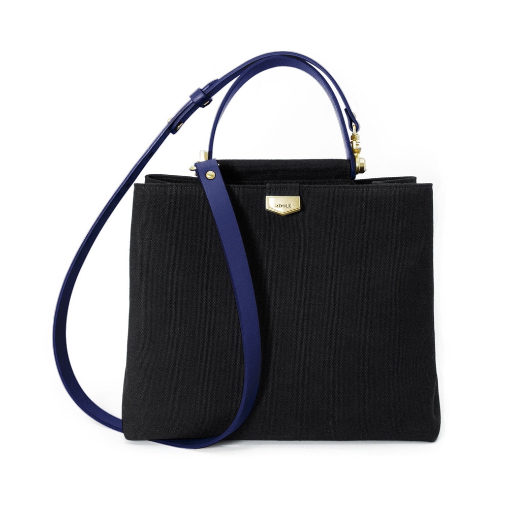 ADOLE|ADay皮革斜背包/黑帆布包+藍提把