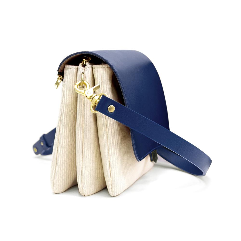 ADOLE|ADay真皮三層帆布斜背包/藍