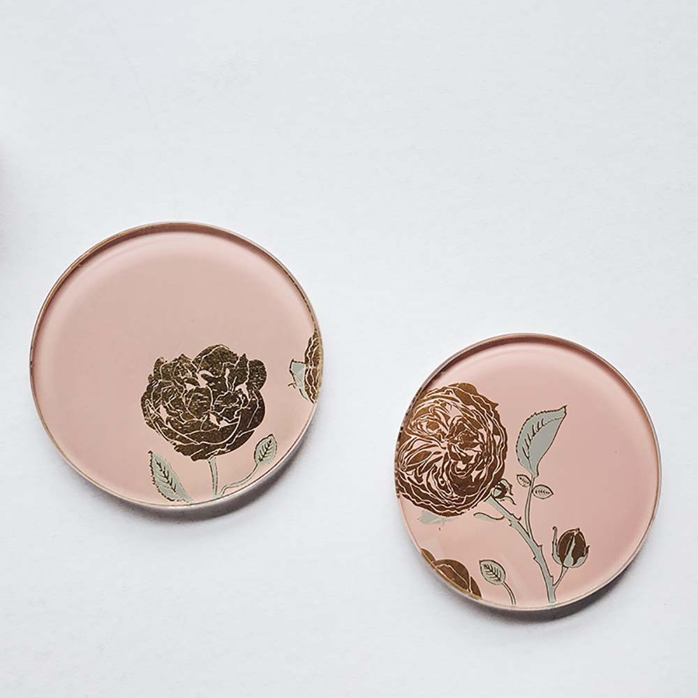 WEN PIIM | Blossom Gold Color Foil Round Coasterx  綻放圓形杯墊/燭盤 雙入
