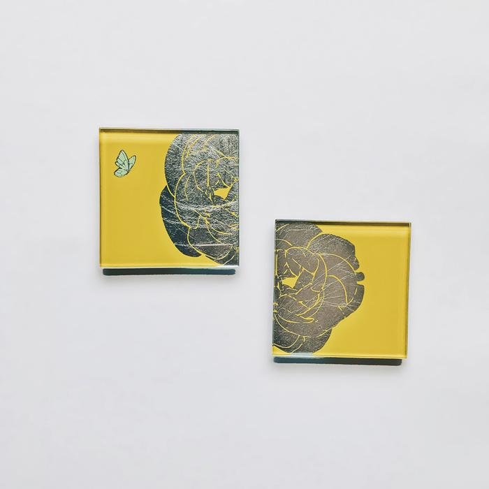 (複製)WEN PIIM   Blossom Gold Color Foil Round Coasterx  綻放圓形杯墊/燭盤 雙入