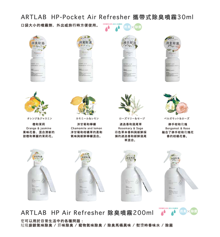 ArtLab | HP 100%天然除臭噴霧 佛手柑和玫瑰