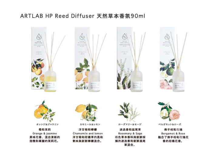 ArtLab | HP Reed Differser 天然擴香 佛手柑和玫瑰