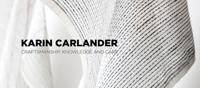 Karin Carlander|亞麻桌布 織6號 - 兩兩 - 麥色藍線