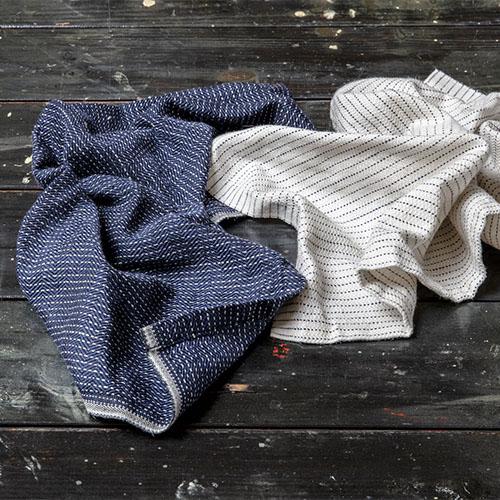 Karin Carlander 亞麻廚房擦拭布 織9號 - 兩兩 - 麥色藍線